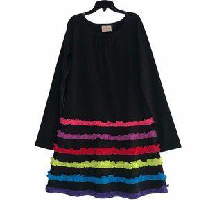 HANNA ANDERSSON LONG SLEEVE RAINBOW RUFFLE DRESS